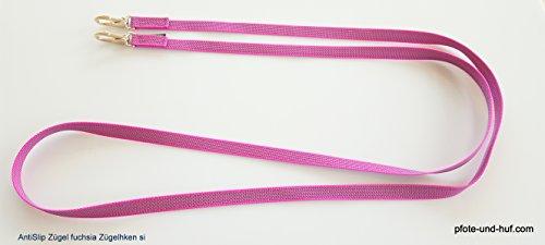 elropet Gummierte Zügel m. Zügelhaken Silber Gummizügel Fuchsia (2,20m Shetty)