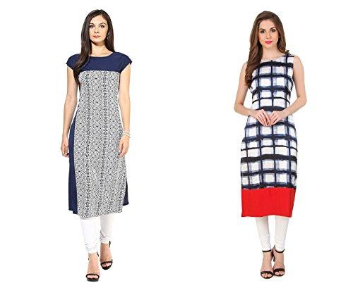 Swagg India Women's crepe Kurta Combo of 2 (Swagg-combo kurti T+M -XL_X-Large_blue+black)