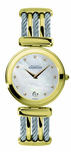 Michel Herbelin Cable Men's Quartz Watch with White Dial Analogue Display and Multicolour Stainless Steel Bracelet 19415/BT59