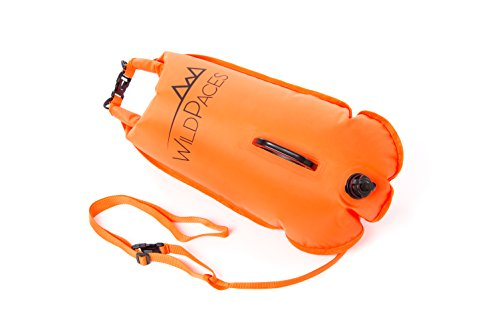 28L Orange Swim Buoy Tow Float by WildPaces High Visibility Inflatable Dry Bag ideal for Wild Swimming Open Water SwimRun Cross Trail Kayaking