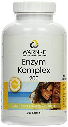 Warnke Gesundheitsprodukte Enzym Komplex 200 mg, rein pflanzliche Enzyme plus Acerola C und Bioflavonoide, 250 Kapseln, vegi, Großpackung, 1er Pack (1 x 167 g)