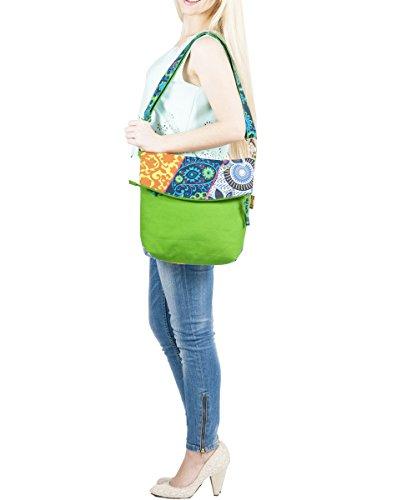 Sunsa Umhängetasche, Borsa a tracolla donna Multicolore multicolore Größe circa 30x37-50x8 cm, blu (Multicolore) - 51120 verde