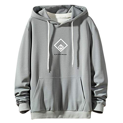 BHYDRY Der Neue Art-beiläufige Art- und Weisepatchwork-Hoodie-Lange Hülsen-Sweatshirt-Oberseiten der Männer(Large,Grau) -
