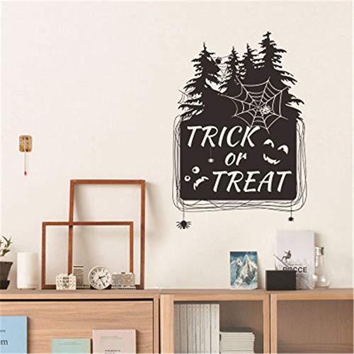 zzlfn3lv Halloween Hexe Baum Trick Fledermaus Kind Wandaufkleber geschnitzt offenes Fenster Glas Hintergrund 57 * 77cm