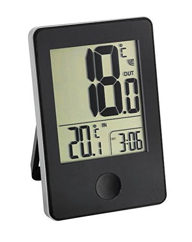 TFA Dostmann Pop Funk-Thermometer, Außen- oder Innentemperatur in Großformat, Anzeige der Uhr