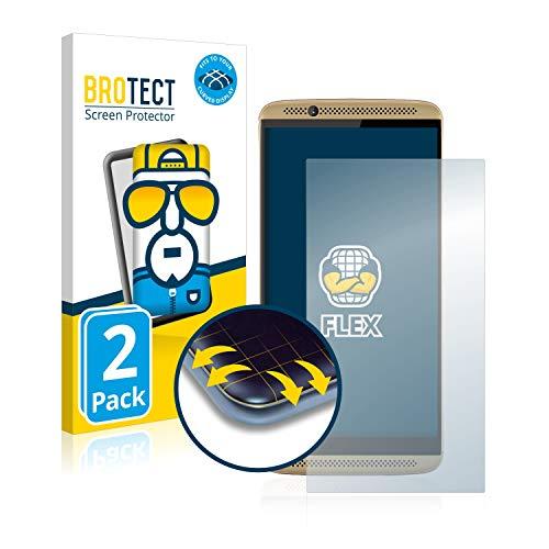 BROTECT Full-Cover Schutzfolie kompatibel mit ZTE Axon 7 (2 Stück) - Full-Screen Bildschirmschutz-Folie, 3D Curved, Kristall-Klar