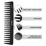 Peine de pelo de fibra de carbono profesional de Majestik+, antiestático, resistente y duradero, color negro, con bolsa de PVC a medida