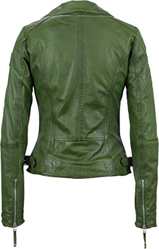 Freaky Nation Damen Jacke Echtleder Biker Princess, Grün (Cactus 6040), Small - 2