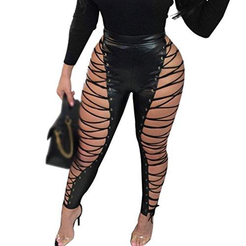 Anguang Donna Benda Pantaloni in PU Pelle a Vita Alta Partito Festa Pantaloni Slim Nero