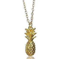 MESE London Collar De Moda Piña Colgante Exótico Cadena Oro - Elegante Caja De Regalo