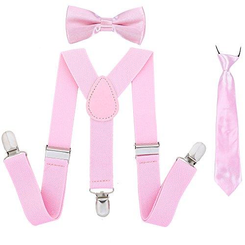 Kinder Hosenträger Fliege Krawatte Set - Verstellbare Elastische Mode Kleidung Accessoire für Jungen und Mädchen (Rosa)