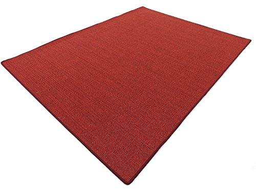 Salsa Design HEVO® Sisal Teppich Rubin mit bordeaux Kettelkante 200x300 cm - Scheune Latex
