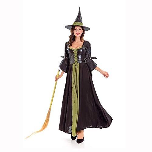 Fashion-Cos1 Halloween Hexenkleid Scary Horror Neue Kostüme Plus Size Schwarz Spielen Ghost Kleidung Strech Party Cosplay Langes Kleid (Color : Black)