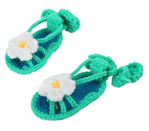 Bigood(TM) 1 Paar Strick Schuh Baby Unisex Strickschuh One Size süße Muster 11cm Schwein Blau Grün D