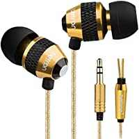 Betron B-25 Noise Isolating in Ear Canal Headphones Earphones with Pure Sound and Powerful Bass for iPhone, iPad, iPod, Samsung, Nokia, HTC, Mp3 Players etc - Gold Black