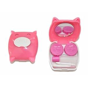 Kontaktlinsenbehälter Aufbewahrungsbehälter Etui Set Spiegel Mini Schwein Pink