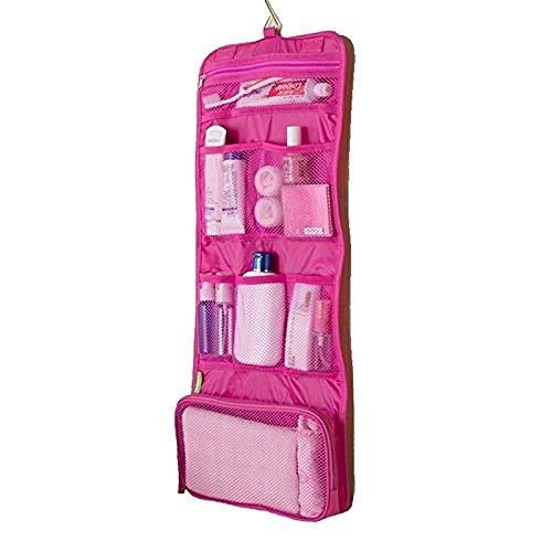 BANAMANA Tragbare Folding Travel Kultur Hanging-Wäsche-Beutel mit Haken Damen bilden kosmetische Beutel-Organisator (Rose) für Reisen