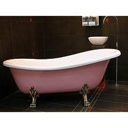 Casa Padrino Freistehende Luxus Badewanne Jugendstil Roma Rose/Weiß/Altgold 1470mm - Barock Antik Badezimmer