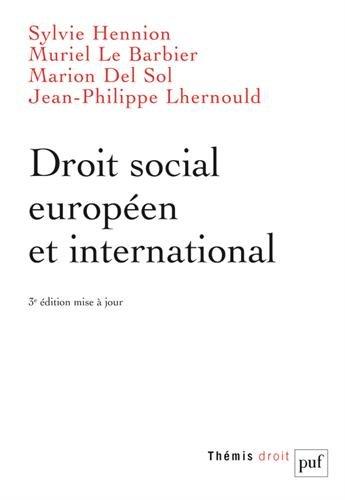 Droit social européen et international par Sylvie Hennion