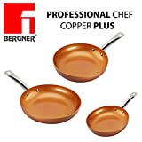 Originali Chef Copper Plus - Set di 3 padelle in rame super resistente! Diametro 18/22/26 Innovativo rivestimento antiaderente senza PFOA – pan red pans Fondo idoneo per cucina a induzione 1093