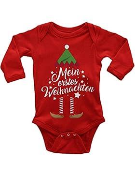 Mikalino Babybody Langarm Mein erstes Weihnachten (Weihnachts-Elf) 100% handbedruckt in Deutschland - bei 60 Grad...
