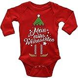 Mikalino Babybody mit Spruch für Jungen Mädchen Unisex Langarm Mein erstes Weihnachten (Weihnachts-Elf)   handbedruckt in Deutschland   Handmade with Love, Farbe:rot, Grösse:62
