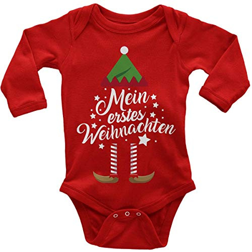 Mikalino Babybody mit Spruch für Jungen Mädchen Unisex Langarm Mein erstes Weihnachten (Weihnachts-Elf) | handbedruckt in Deutschland | Handmade with Love, Farbe:rot, Grösse:74 -