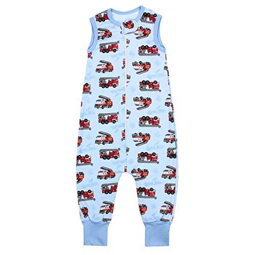 TupTam Unisex Babyschlafsack mit Beinen Unwattiert, Farbe: Feuerwehrauto/Blau, Größe: 80-86