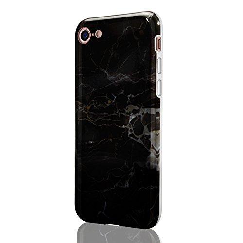 iPhone 7 Handytasche,iPhone 8 Marmor Handyhülle, Vandot Luxus Flexible Weich Marble Ultra Dünn Slim Schutz Handy Hülle für iPhone 7 8 Muster Malerei Kratzfeste Rutschfest Schutzhülle Shiny Glänzend Go Marmor Muster 7