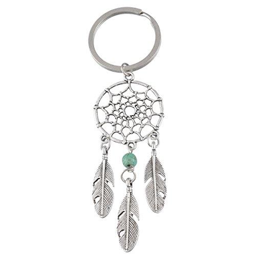 MJartoria Feather, colore: turchese con ciondolo charm a forma di acchiappasogni, design tribale, con anello portachiavi