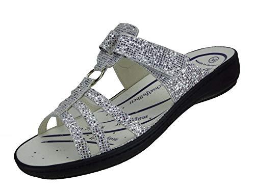 Algemare Damen Pantolette 'Glitter' mit waschbarem Sani-Pur Wechselfußbett Made in Germany 3464_1111 Sandale Sandalette mit Absatz, Größe:41