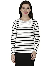 SVT ADA COLLECTIONS Cotton Lycra White & Black Color Stripped Ever TIME Elegant TOP (021406_White_Medium)
