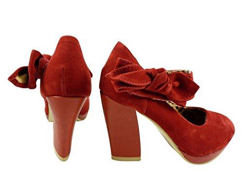 Escarpins babies à noeud et plateforme Rouge