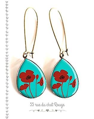 Boucles d'oreilles gouttes, fleur coquelicot rouge, et turquoise, motif floral, nature