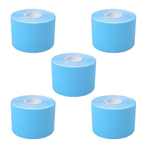 Cawila Kinesiotape, elastisches Sporttape für Physiotherapie, Freizeit, Sport und Medizin, 5,0cm x 5m (blau 5er Set)