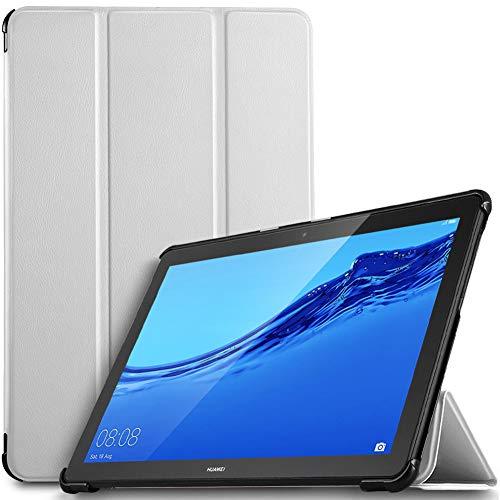IVSO Coque Etui Housse pour Huawei MediaPad T5 10, Slim Cover Housse de Protection avec Support Fonction pour Huawei MediaPad T5 10 10.1 Pouce 2018, Blanc
