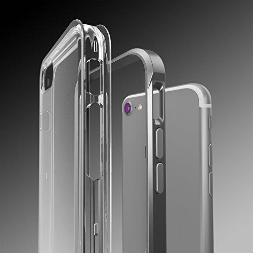 Urcover® Apple iPhone 7 Plus / 8 Plus Aluminium Bumper mit TPU Back-Case | Handy Schutz-Hülle in Hell Blau | Alu Cover | Smartphone Zubehör Randschutz Tasche Grau