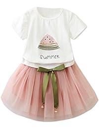 OverDose niñas Conjunto de Ropa de algodón Suave para niñas Manga Corta Camiseta + ...