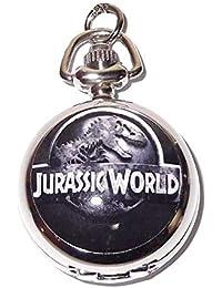 Reloj de bolsillo/collar Parque Jurásico–cadena bañada en plata–en caja regalo con batería de repuesto gratis
