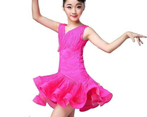 SMACO MäDchen Latin Kleid Kids Latin Dance Dress Kinder Quaste Rock Latin KostüM Weiß Blau Rose Rot,Pink,170CM