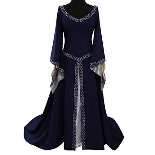 Damen Mittelalterkleid Lang Mittelalterliche Kleid Trompetenärmel Mittelalter Kleidung Cosplay Party Kostüm Maxikleider zum Karneval Oktoberfest Tradition Retro Tunika Gothic Schankmaid Kostüm (Mittelalterliche Dame Kostüm)