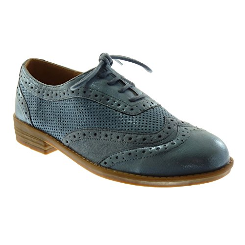 Angkorly Chaussures Mode Derby Chaussure Bi-matière Femme Point De Finition Perforé Piqûres Bloc Talon 3 Cm Bleu