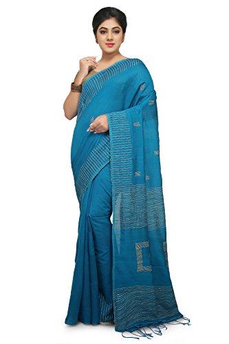 Wooden Tant Aqua Blue Box Ghicha Handloom Cotton Silk Saree With Hand...