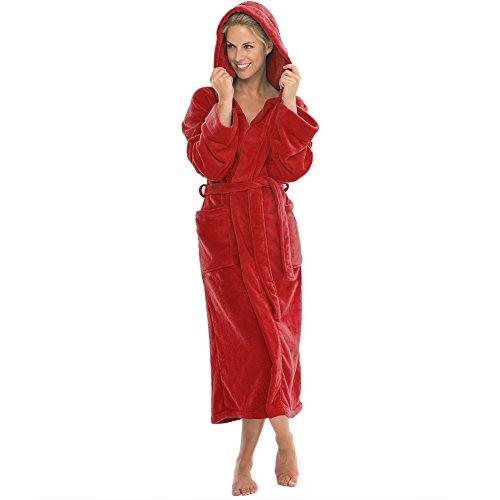 aqua-textil Bademantel mit Kapuze Damen Herren Morgenmantel weich und super flauschig, Coral Fleece Saunamantel lang, 1000418 Malibu S rot