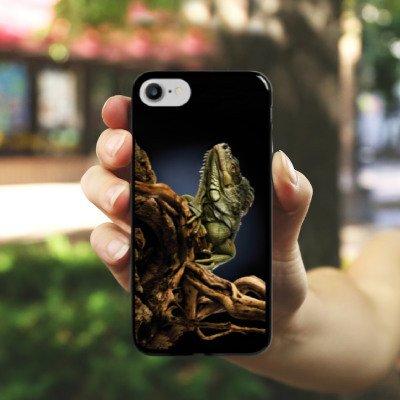 Apple iPhone X Silikon Hülle Case Schutzhülle Echse Reptil Tier Hard Case schwarz