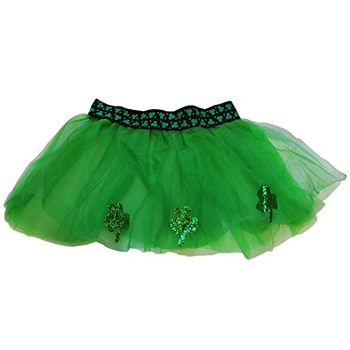 Green St. Patrick's Day Tutu With Glitter Shamrock Design, Black And Green Elastic