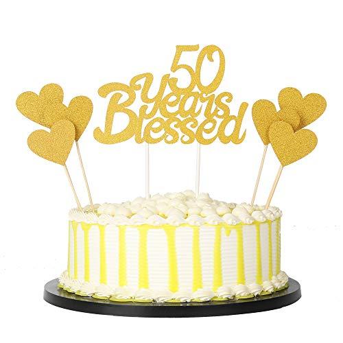 PALASASA 6 Stück Gold Love Star und Gold einseitig Glitzer 50 Jahre gesegnet Kuchen Topper für Happy 50th Birthday - Hochzeit Jahrestag Party Dekorationen Set von 7 (50th) (50th Happy Birthday-dekorationen)