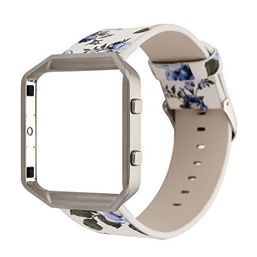 Altsommer Armband 23mm für Fitbit Blaze Weiches Leder Gurt mit Metall Schließe Blume Armband Muster Serie,Bunt Leder Sportarmband Uhrenarmband die Vielfalt der Blumen für Damen (C)