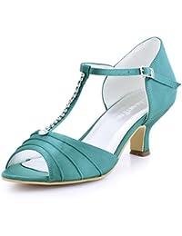 a419287c23ab0 Elegantpark EL-035 Mujer Sandalias Punta Abierta Tacón Bajo Rhinestones  Satin Zapatos de Vestir Baile