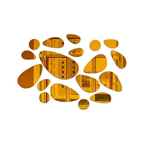 Gouzi acrilico a specchio specchio del cubo di forma ovale soffitto bagno, oro parete rimovibile adesivo per camera da letto soggiorno parete di sfondo bagno studio barber shop